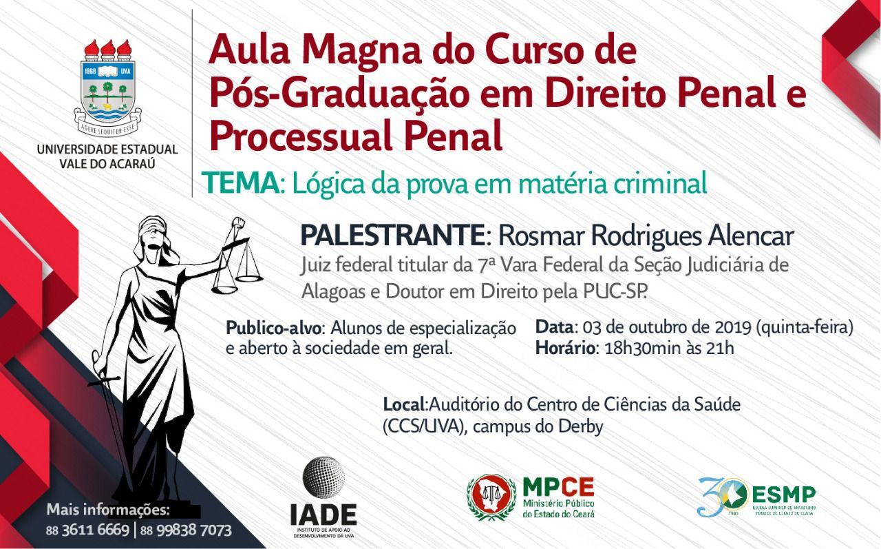 Aula Magna do Curso da Pós-Graduação em Direito Penal e Processual Penal