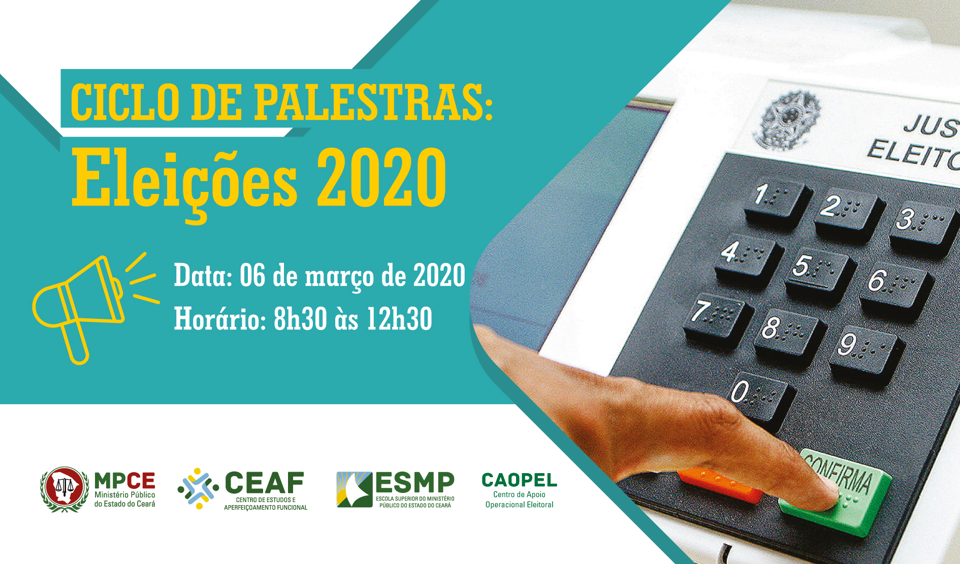 CICLO DE PALESTRAS: ELEIÇÕES 2020 - FISCALIZAÇÃO DOS ILÍCITOS ELEITORAIS A PARTIR DA PRÉ-CAMPANHA E PROPAGANDA ELEITORAL ANTECIPADA