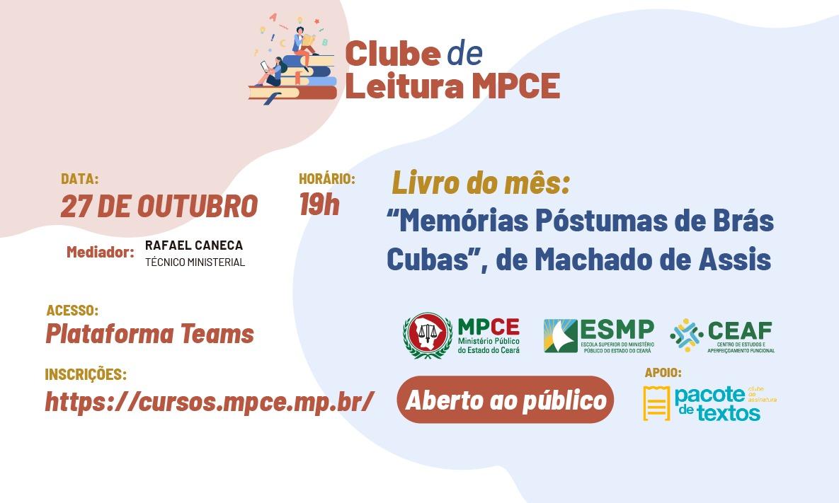 Clube de Leitura - Memérias Póstumas de Brás Cubas - Machado de Assis